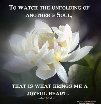To watch the unfolding of another's Soul, that is what brings me a joyful heart.. April Peerless