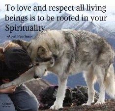To love and respect all living beings is to be rooted in your Spirituality. April Peerless