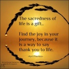 The sacredness of life is a gift. Find the joy in your journey, because it is a way to say thank you to life. April Peerless